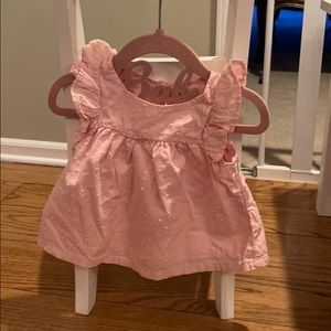 Swiss Dot Pink Dress with Bloomers 12-18m